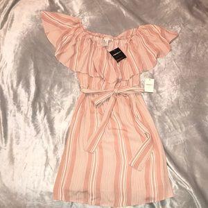 Blush Pink & White striped off shoulder dress